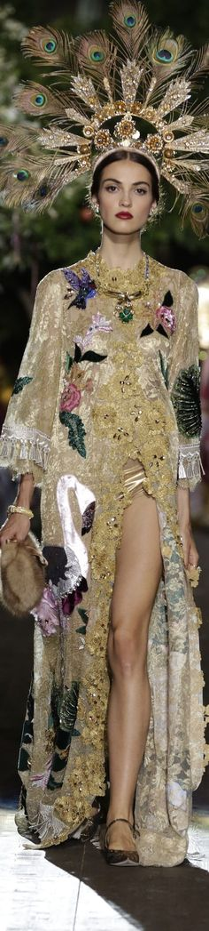 virgin , frida kahlo mexican folk art inspired couture fashion formal dress the beadwork and embroidery of birds and flowers is amazing Dolce & Gabbana Alta Moda Fall 2015 couture