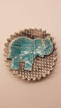 Handmade Pottery Elephant Dish Tea Bag Holder Soap by IRONnEARTH