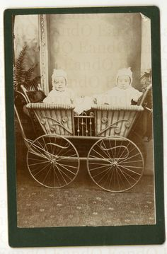 TWINS a Beautiful and Rare Cabinet Card of Twins in a Double Baby Carriage Pram