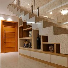 Stair for tiny house ideas stair shelves, staircase storage, loft stair Stair Shelves, Staircase Storage, House Staircase, Loft Stairs, Home Stairs Design, Interior Stairs, Modern House Design, Home Interior Design, Stairs In Living Room