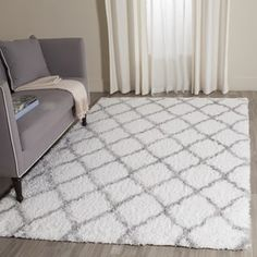 Shop for Safavieh Indie Shag Trellis Ivory/ Grey Polyester Rug (3' x 5'). Get free shipping at Overstock.com - Your Online Home Decor Outlet Store! Get 5% in rewards with Club O! - 19975303