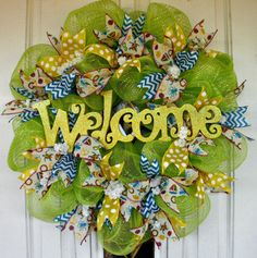 Spring Wreath, Summer Wreath, Green Mesh Wreath, Indoor Wreath, Outdoor Wreath, Door Wreath, Welcome Wreath, Green and Yellow Wreath by MeMaandCo on Etsy