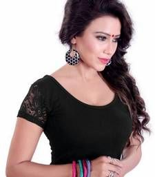 Buy Black lycra plain stitched blouse readymade-blouse online
