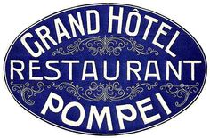 Grand Hotel Pompei Italy Luggage Label