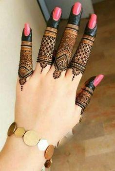Henna Tattoo Designs Simple, Finger Henna Designs, Latest Bridal Mehndi Designs, Full Hand Mehndi Designs, Henna Art Designs, Mehndi Designs For Beginners, Mehndi Design Photos, Mehndi Designs For Fingers, Dulhan Mehndi Designs