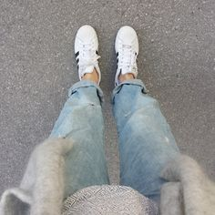 tifmys - H&M cardi and denim & Adidas Superstar sneakers.