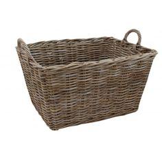 Grey & Buff Rattan Rectangular Floor Basket Wicker Log Storage with Handles Rattan, Wicker, Home Organisation, Storage Baskets, Natural Materials, Flooring, Grey, Storage Solutions, Pantry