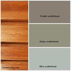 Remember to go with green undertone in the grey for kitchen paint.Great color base information - for accenting the honey oak kitchen cabinet look Kitchen Paint Colors, Bathroom Paint Colors, Wall Paint Colors, Paint Colors For Living Room, Paint Colors For Home, Paint Walls, Wood Furniture Paint Colors, Warm Kitchen Colors, Cabin Paint Colors