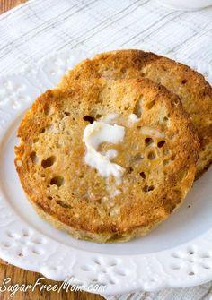 2 Minute Low Carb English Muffin- gluten free, grain free- http://sugarfreemom.com