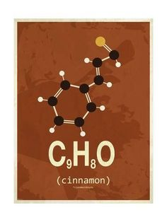 size: Stretched Canvas Print: Molecule Cinnamon by TypeLike : Artists Using advanced technology, we print the image directly onto canvas, stretch it onto support bars, and finish it with hand-painted edges and a protective coating. Chemistry Tattoo, Chemistry Art, Chemistry Classroom, Organic Chemistry, Chemistry Lessons, Chemistry Teacher, Chemical Structure, 8th Grade Science, Chemical Formula