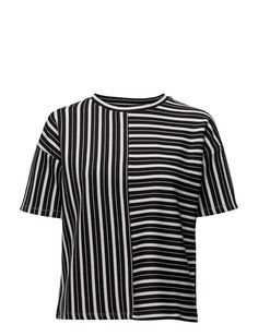 DAY - Cut Basket weave texture Loose fit Stretch fabric Modern Stripe T-Shirts Loose Fit, Stretch Fabric, Weave, Basket, Texture, Day, Modern, T Shirt, Stuff To Buy