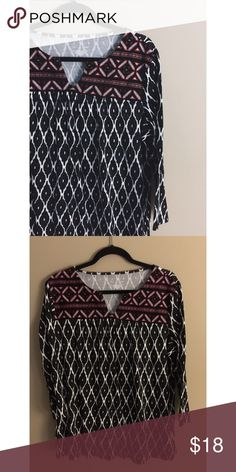 N E W D I R E C T I O N S Boho print • Loose fit • 3/4 sleeves • Excellent condition • NO TRADES/HOLDS • All reasonable offers accepted • new directions Tops