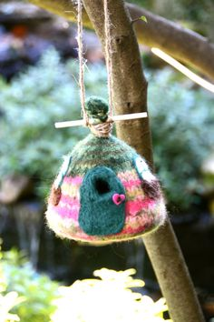 Fit for Fairies Felted Birdhouse. $15.00, via Etsy.