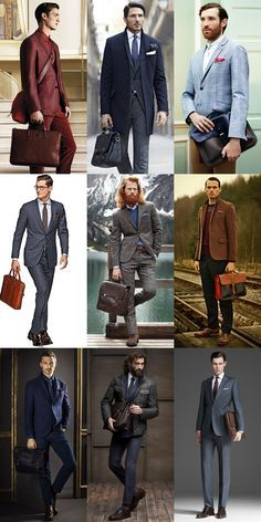 Bottom right (blue business suit) and middle right (brown business casual) look so sleek. Business Dresses, Business Outfits, Business Fashion, Business Casual, Business Formal, Suit Pic, Briefcase For Men, Messenger Bag Men, Stylish Men