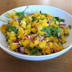 Mango Salsa Recipe---use frozen mangos and needs lime and salt