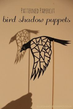 Patterned papercut bird shadow puppets by Ellie Chaney.