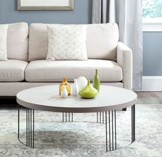 Safavieh Furniture - Add a fashion-forward touch of geometry to your living room with the well-rounded Keelin white lacquer coffee table. This contemporary piece sits on a circ Round Wood Coffee Table, Mid Century Coffee Table, Black Coffee Tables, White Coffee, Table Furniture, Living Room Furniture, Living Rooms, Apartment Furniture, Apartment Interior