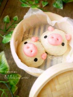 Cute dim sum Pig Pork buns. Anything piggie related - from pig products to animal photos! I like pigs
