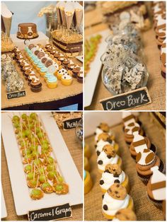 """""""Farm Fresh"""" Milk and Cookies Party: chocolate chip cookie cupcakes, Oreo bark, caramel and nut-dipped grapes"""