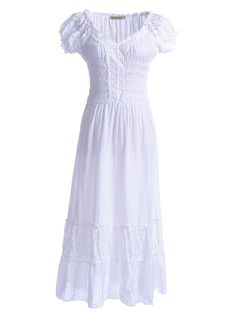 Anna-Kaci Renaissance Peasant Maiden Boho Inspired Cap Sleeve Lace Trim Dress at Amazon Women's Clothing store: