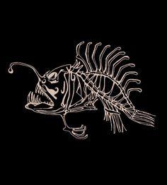 Angler Fish Skeleton Tee  American Apparel black with bleach print. $18.00, via Etsy.