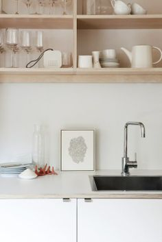 plywood open kitchen shelves