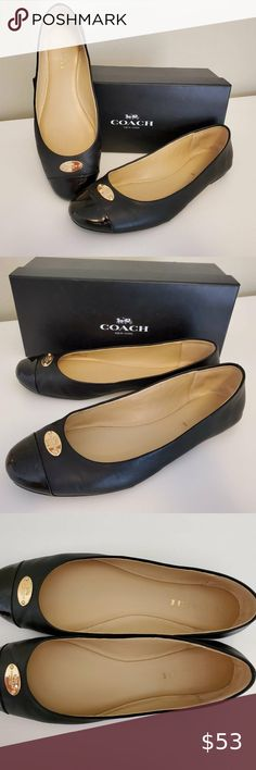 Coach Chelsea  Leather /& Canvas Brown C LOGO Ballet Flat W// Gold Coach Emblem