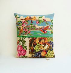 Collage French Needlepoint Tapestry Birds by Retrocollects on Etsy £45  £45 https://www.etsy.com/shop/Retrocollects