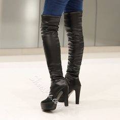 Cheap and fashion Knee High Boots with heels Online Sale Platform High Heels, High Heel Boots, Heeled Boots, Drawing High Heels, Womens Thigh High Boots, Sexy Boots, Sexy Heels, Women's Boots, Black High Heels