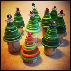 A forest of Tiny Button Trees, all ready for Christmas. handmade by FancyTat.