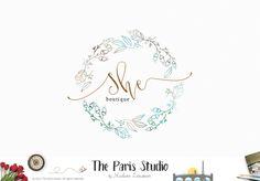 Hand Drawn Style Watercolor Wreath Logo Design - fashion logo, website logo…