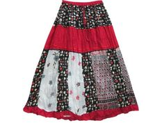 Bohemian Skirt Red Printed Crinkle Gypsy Cotton Skirts for Womens mogulinterior,http://www.amazon.com/dp/B00E5VAXDO/ref=cm_sw_r_pi_dp_ApZ8rb17M2D4EWR5