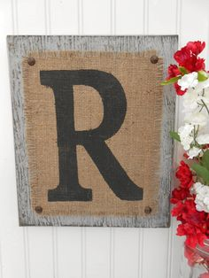 Gray R, letter in JUTE, RUSTIC wedding or home decor, housewares, living room sign. $34.00, via Etsy.