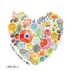 a flower heart by Miriam Bos -also available with Oopsy Daisy as wall art | #illustration #handlettering #miriambos