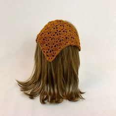 Hair Bandana Kerchief Crochet Gold Head Scarf Rockabilly Cover Orange…