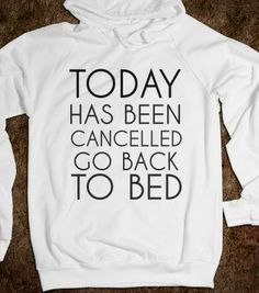 TODAY HAS BEEN CANCELED GO BACK TO BED HOODIE - glamfoxx.com - Skreened T-shirts, Organic Shirts, Hoodies, Kids Tees, Baby One-Pieces and To...