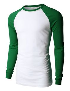 PREMIUM Mens Relax Fit Colorblock Raglan Long Sleeve Jersey Baseball Tee