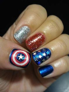 45 Cool Marvelous Nail Art// going to paint my nails like this when I go see Captain America: Civil War Fancy Nails, Cute Nails, Pretty Nails, Captain America Nails, America America, Marvel Nails, Avengers Nails, Hair And Nails, My Nails