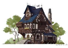 ArtStation - house in middle of age, Hui-Won Park Fantasy Town, Fantasy House, Medieval Fantasy, Building Concept, Building Art, Building Design, Casa Medieval Minecraft, Medieval Houses, Minecraft Steampunk