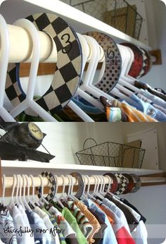 """Great idea for a baby's closet for various sizes...or label with """"short sleeve, jeans, sweatshirts...etc...to help older kids organize their own closet!"""