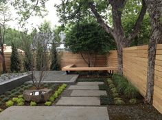 Shocking Backyard Zen Garden Ideas in Landscape Contemporary design ideas with bark mulch Basalt Dish Rock bench bench