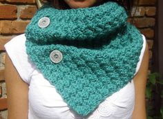Crochet Cowl Neckwarmer Scarf in Teal with by MegansMenagerie