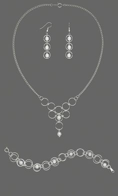 Single-Strand Necklace, Bracelet and Earring Set with Glass Pearls and Silver-Plated Chain and Jumprings - Fire Mountain Gems and Beads