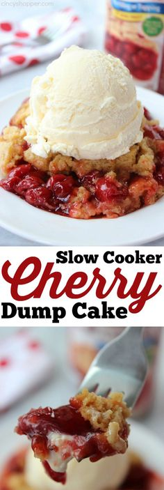 Slow Cooker Cherry Dump Cake- Just three ingredients for this super tasty dessert. Tasty Recipes For Dessert, Slow Cooker Recipes Dessert, Crock Pot Desserts, Cooking Recipes, Delicious Recipes, Yummy Snacks, Yummy Appetizers, Recipe For Dump Cake, Cherry Cake Recipe