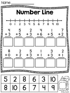 Rectas Numericas / Recta numerica - 6 Number Lines cutting and pasting worksheets IN SPANISH for practicing adding and subtracting on a number line Más Math Classroom, Kindergarten Math, Teaching Math, Preschool, Addition And Subtraction Worksheets, Math Addition, First Grade Addition, Cut And Paste Worksheets, Math Numbers