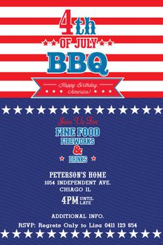 4th of july party invitation template