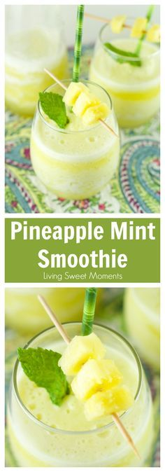 Pineapple Mint Smoothie Recipe - refreshing drink for Spring and Summer. Blended with lot's of ice for an interesting and flavorful healthy tropical beverage without booze. More on http://livingsweetmoments.com
