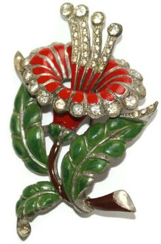Large Pot Metal Enamel & Rhinestone Flower Pin 1930's