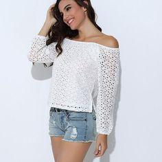 Sexy Off Shoulder Lace Blouse Shirt Women