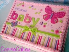 Butterfly baby shower by the amazing CorrieCakes! Butterfly Baby Shower from the amazing CorrieCakes Girl Shower Cake, Baby Shower Sheet Cakes, Pastel Rectangular, Gateau Baby Shower, Baby Girl Cakes, Cake Baby, Butterfly Baby Shower, Shower Bebe, Butterfly Cakes